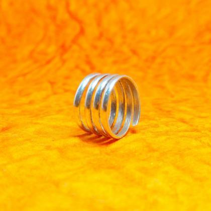 Silver Spiral Band Ring, Open Handm..