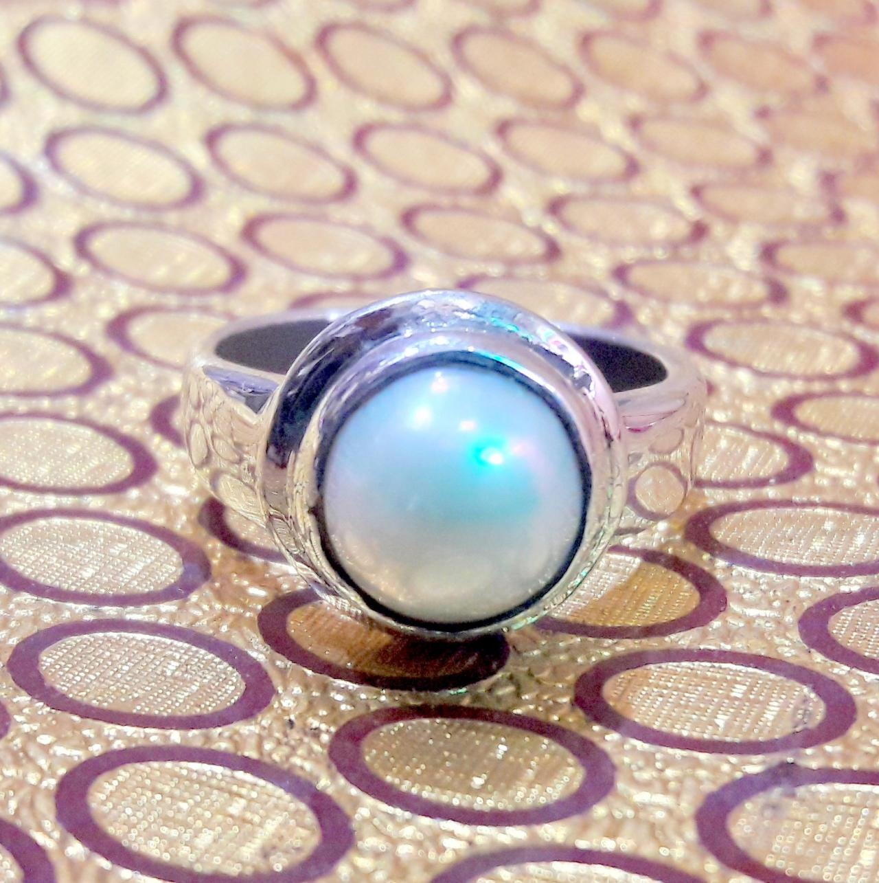 Pearl Ring 3, 925 Sterling Silver Ring, Handmade Ring, Round Gemstone, Gift For Her, Statement Ring