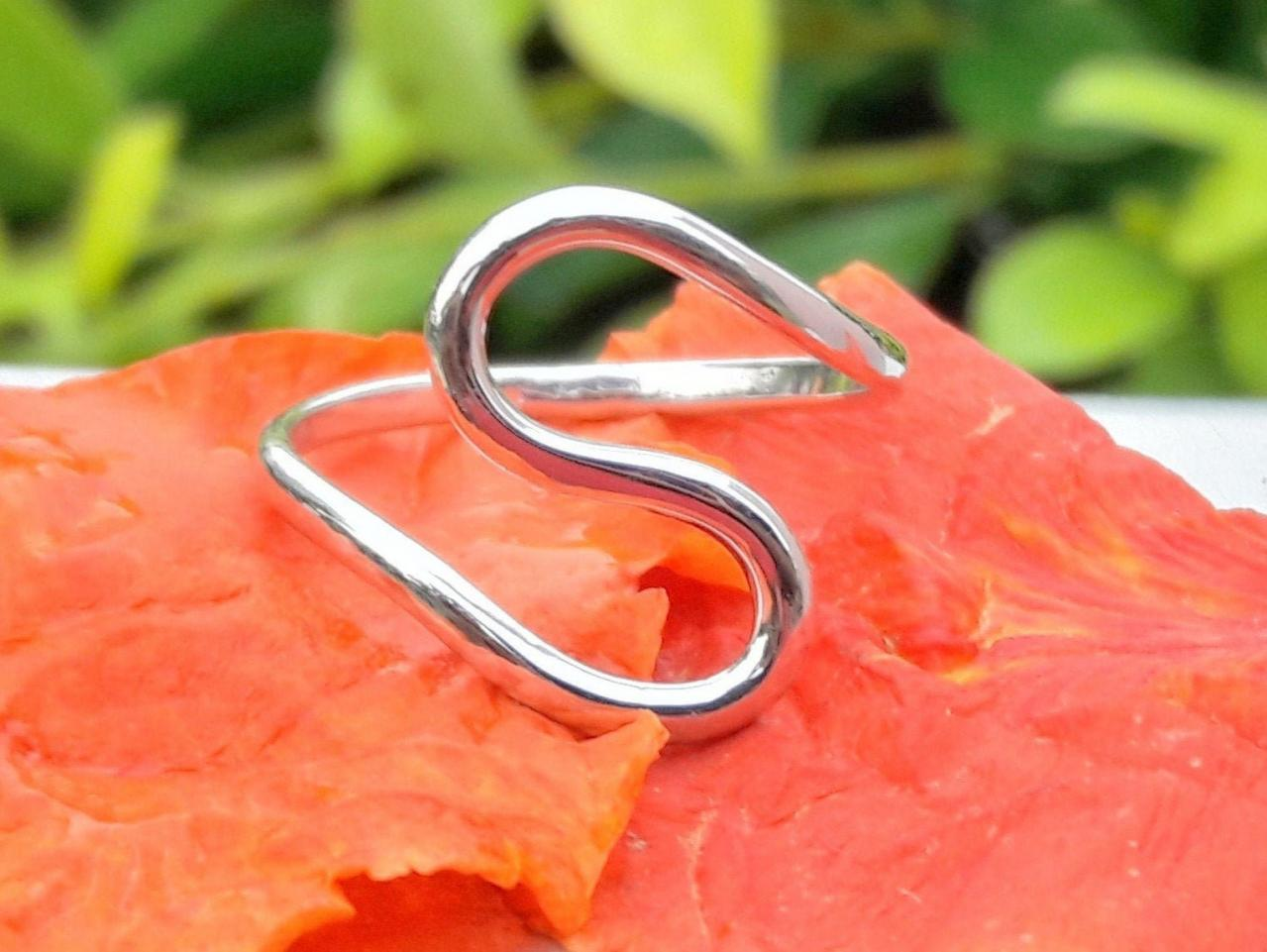 S Shaped Silver Ring, Handmade Jewelry, Silver Jewelry, Statement Jewelry, Solitaire Ring, Stack-able Jewelry, Women's Jewelry, Gift For Her