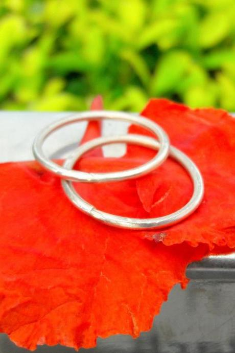 Bridal Set of Thin Ring, Sterling Silver Handmade Ring, Wedding & Engagement Jewelry, Couple Ring, Statement Ring, Set Of Two Ring, All Size Available Ring
