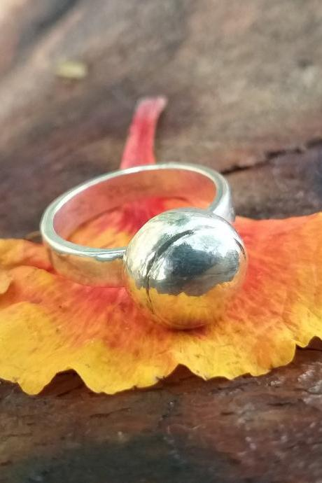 Single Ball Ring, Silver Ring, Handmade Ring, Wedding Ring, Women's Ring, Signet Ring, Promise Ring, Engagement Ring, Gift Item For Her