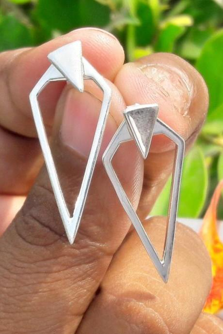 Long Triangle Earrings, 925 Sterling Silver Earrings, Long Earrings, Statement Jewelry, Wedding Jewelry, Party Wear, Back To School Friends