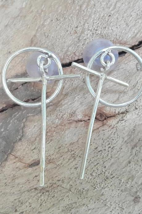 OT Shaped Earrings, Dangled & Drop Earrings, Silver Jewelry, Woman jewelry, Engagement Gift, Bohemian Jewelry, Promise Earrings, Earring