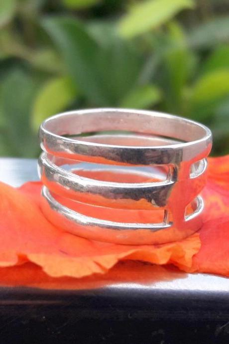 Triple Band Ring, 925 Sterling Silver Band Ring, Handmade Band Ring, Unique Band Ring, Unisex Band Ring, Gift For Everyone, Fun Band Ring