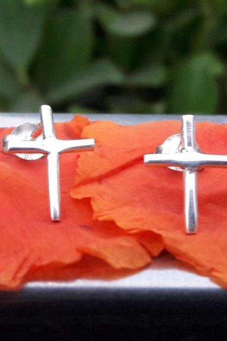 Christian Symbolism Earring, 925 Sterling Silver Earring Studs, Dainty Studs, Boho Jewelry, Prayer Studs, Gift For Her, Silver Unique Studs, Statement Jewelry