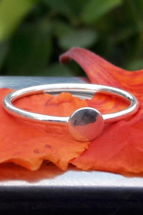 Full Moon Ring, Solid Sphere, Circle Ring, Disk Ring, Silver Dainty Ring, Simple Silver Ring, Lovers Ring, Solid Dot Ring, Statement Ring, Unisex Ring, Gift
