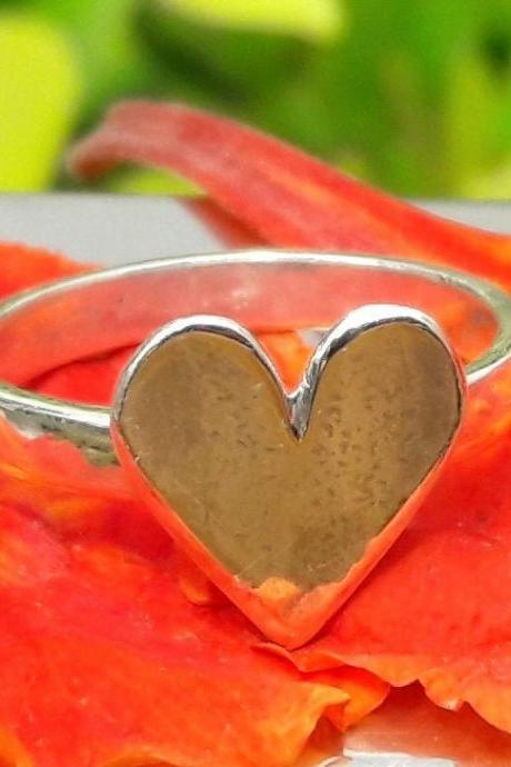 Solid Heart Ring, 92.5% Sterling Silver Ring, Handmade Heart Ring, Love Ring, Anniversary Gift, Wedding Gift, Engagement Gift, Gift To Her