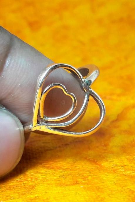 Heart-In-Heart Ring, Double Heart Ring, Handmade Sterling Silver Ring, Ring For Mates, Thin Dainty Ring, Statement Ring, Boho Jewelry, Vintage Ring, Stack-able Ring