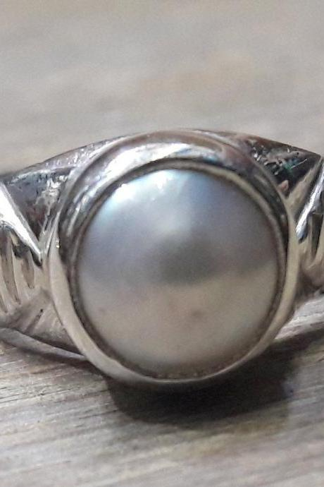 New Design Pearl Ring, 925 Sterling Silver Ring, Simple Ring, Fresh Gemstone Ring, Gift For Her