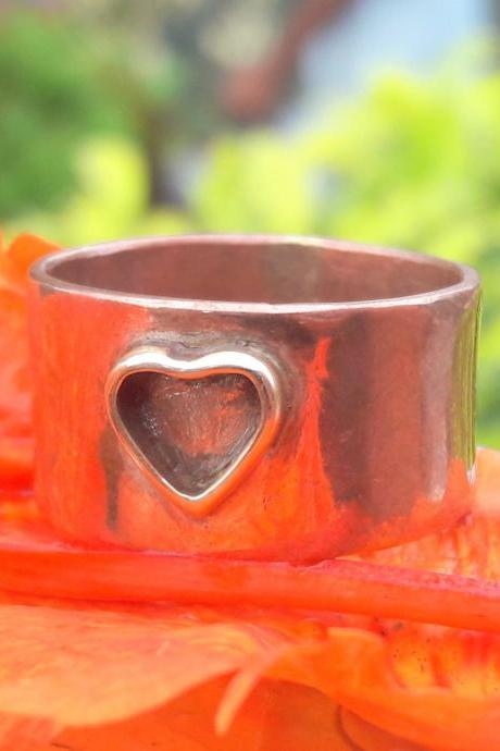 Small Heart Band, 925 Sterling Silver Band Ring, Handmade Band, Rose Gold Band, Statement Band, Unisex Band