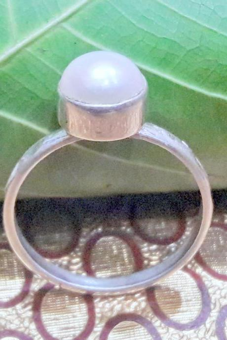 Pearl Ring, Handmade Hammered Dainty Ring, Sterling Silver Ring, Gift For Her, June Birthstone