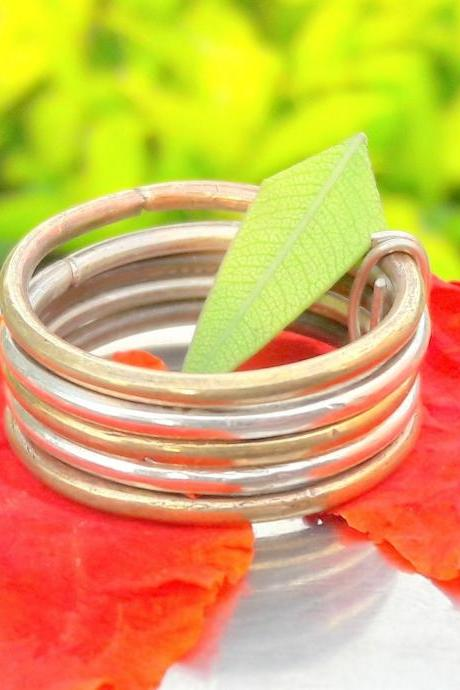 Silver-Copper Mix Band Ring, Sterling Silver Ring, unisex Band, Handmade Band, Personalized Band, Christmas Gift