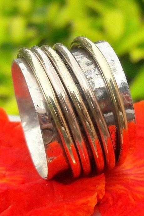 Five Spinner Ring, Band Ring, Handcrafted Jewelry, Hammered Jewelry, Wide Band Ring, Silver Band, Vintage Jewelry, Expensive Jewelry, Gift