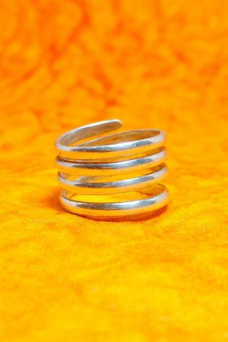 Silver Spiral Band Ring, Open Handmade Ring, Unisex Ring, Simple Ring, Standard Midi Ring, Jewelry