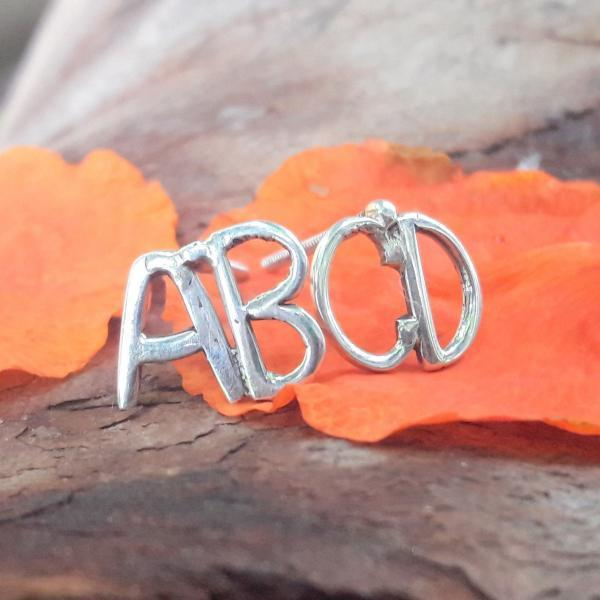 Alphabetic Style Earrings, Sterling silver Earrings, ABCD Earring, Personalized Earring, Monogram Studs, Best Friend Gift, Christmas Gift, Gift For Everyone