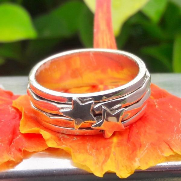 Star On Spinner Band Ring, Sterling Silver Ring, Handmade Ring, Women Silver Ring, Fidget Ring, Anxiety Ring, Gypsy Ring, Unique Ring, Double Star Ring