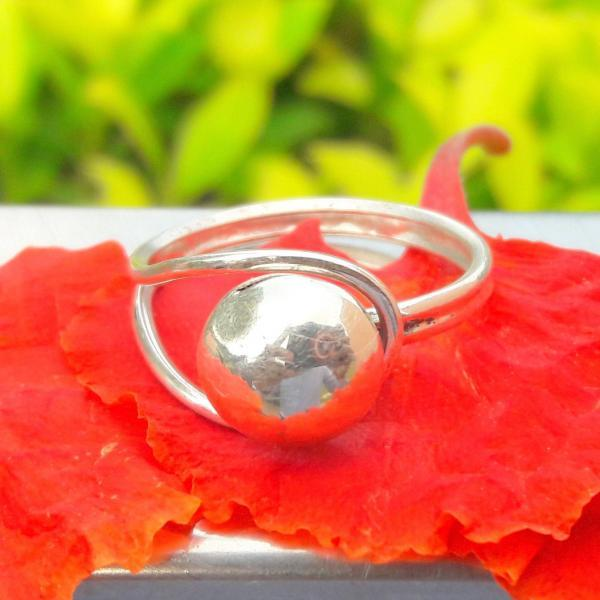 Handmade Sterling Silver Open Ring, Single Semi- Sphere Ring, Handmade Ball Ring, Status Ring, Lover's Ring