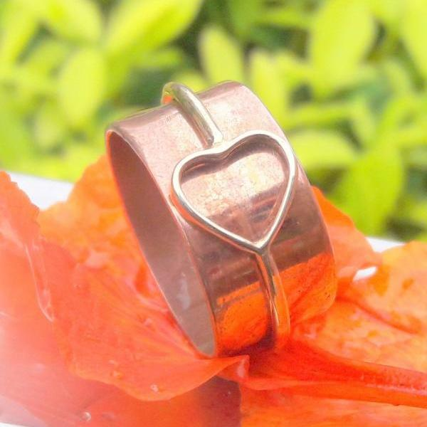 Heart Shape Band Ring, Sterling Silver Ring, Multi-color Ring, Lover Ring, Handmade Ring, Promise Band Ring