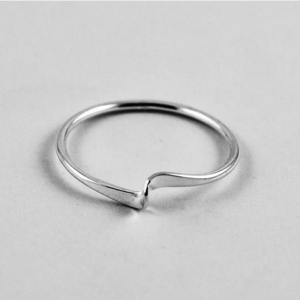 Bend Ring, Sterling Silver Ring, Thin Ring, Dainty Ring, Midi Ring, Anniversary Gift, Unique Ring, Unisex Ring, Christmas Gift, Ring For Her